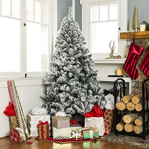 Best Choice Products 9ft Snow Flocked Hinged Artificial Christmas Pine Tree Holiday Decor with Metal Stand, Green