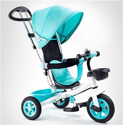 WLMGWRXB Triciclos Bebes evolutivo Juguetes año 1-3 niños Bicicleta Bicicletas Bici Plegable niñas bebé Asiento Cochecito cestas,Azul: Amazon.es: Hogar
