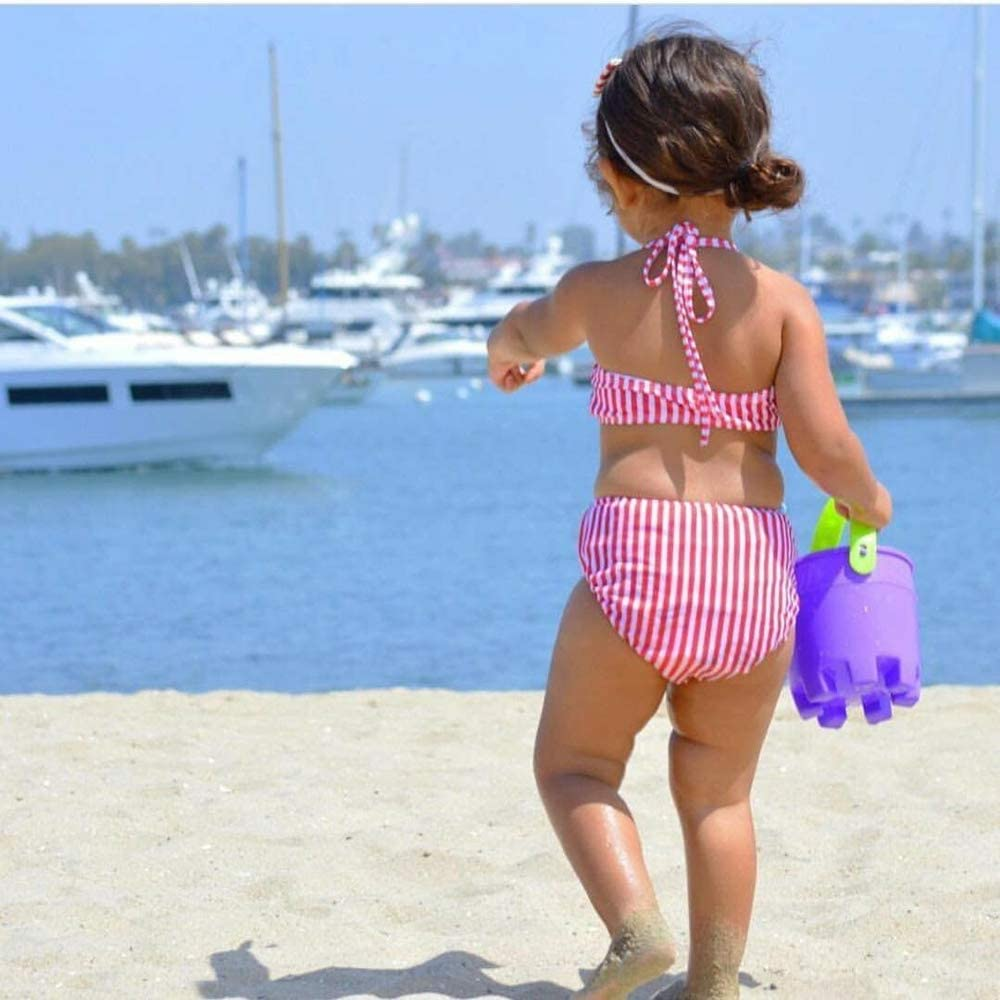 Baby Kids Girls Stripe Print Bowknot Halter Tow Piece Swimsuit High Waisted Bottom Bathing Suit