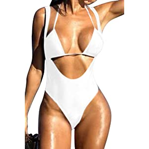 374f57fea01 Viottiset Women s Push Up Halter 2PCS Swimsuit Brazilian Triangle Thong  Bikini Set