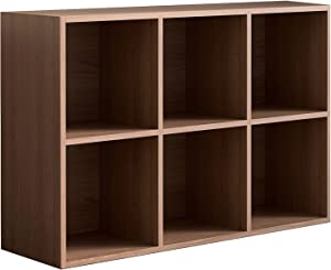 Vanrohe 6-Cube Storage Organizer Shelves, Bookcase/Bookshelf System, 3-Tier Open Wooden Display Cabinet for Home/Living Room/Office, Easy to Assemble, Walnut