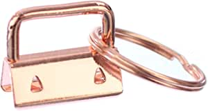 "25 Pack - CleverDelights 1"" Key Fob Hardware Set with Key Rings - Rose Gold Color - for Lanyards Key Chain Wristlets - 1 Inch"