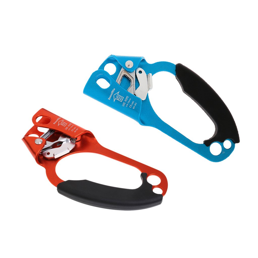 MonkeyJack Set of Climbing Right & Left Hand Ascender Gear Equipment for 8-13mm Rope - Outdoor Rescue Mountaineering Arborist