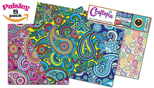 Craftopia's Paisley Pattern Self Adhesive Craft Vinyl Sheets | 4+1 Assorted Vinyl Pack for Cricut, Silhouette Cameo, Craft Cutters, Printers, Letters, (Lily Silhouette)