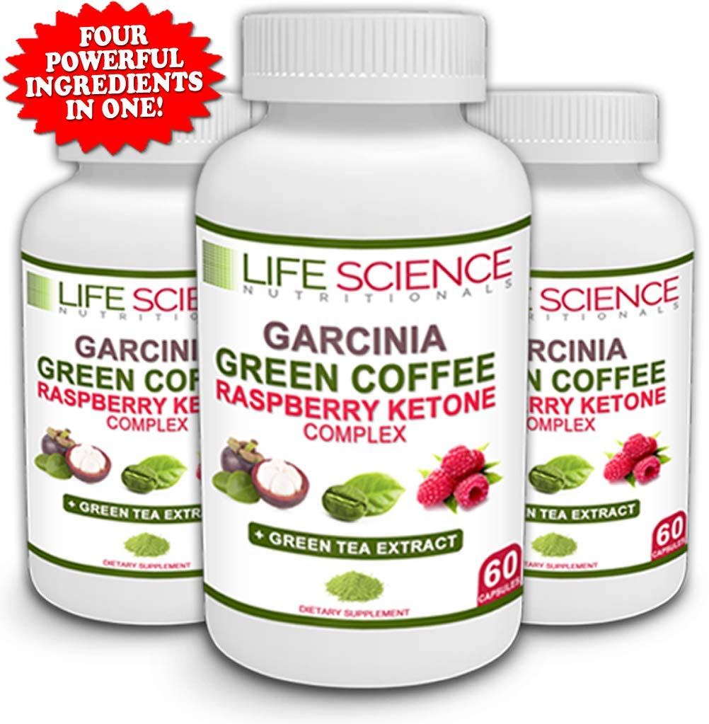 The Original 4-in-1 Garcinia Cambogia, Green Coffee Bean, Raspberry Ketones & Green Tea Extract 1300mg Dr. Recommended for Fat Burn, Weight Loss & Appetite Suppressant (60 Caps, 4 oz) by Life Science Nutritionals