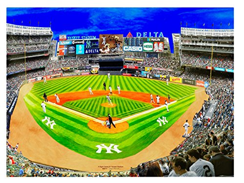 New York Yankee Baseball Night Game At Yankee Stadium Wall A