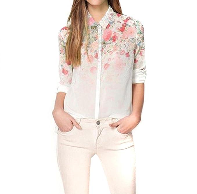 NEW cuello de solapa de chifón de blusas para mujer Diseño de flores de diseño de