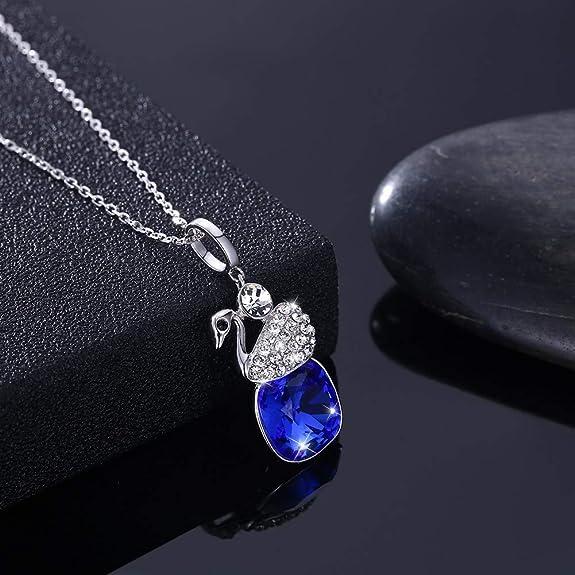 myazs8580 LEKANI S925 Sterling Silver swan Pendant in Multicolored Austrian Crystal Necklace