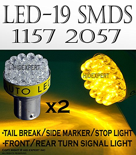 one pair AMBER YELLOW 19 Led Bulbs For Turn Signal Light 1157 2057 Fast Shipping