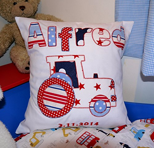 Embroidered Tractor - Personalised boys pillow Tractor Nursery decoration Farm applique fabric tractor and name with embroidered date.