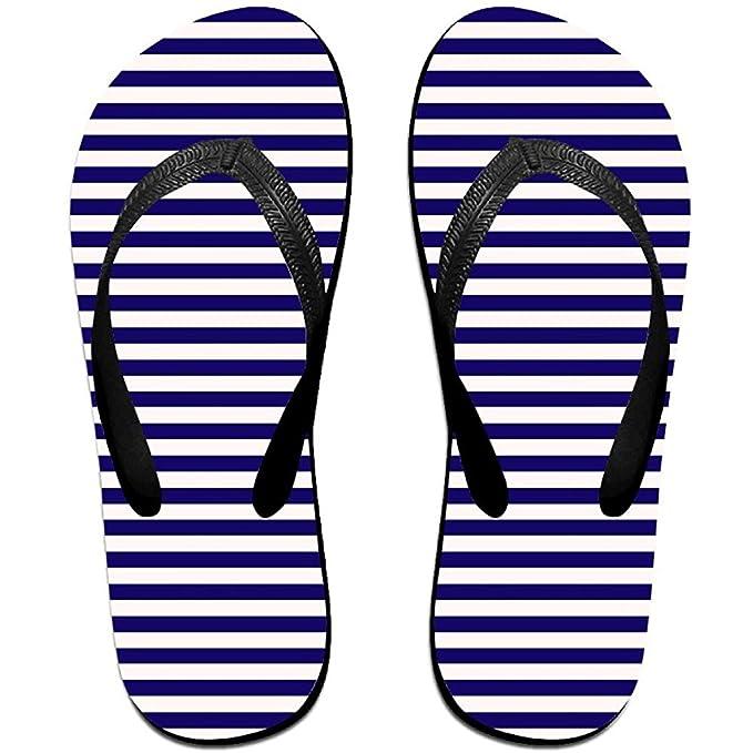 Blue Stripe Unisex Comfortable Cute Beach Flip Flops Beach Sandals Flip-Flop Beach Flipflop Sandal Slippers For HomeBeach