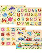 Wooden Peg Puzzles for Toddlers-Alphabet Number Shape Vehicles Animals Learning Puzzles Board Toys for Kids Ages 3 4 5 6, Preschool Educational Gifts for Boys Girls(Set of 4)