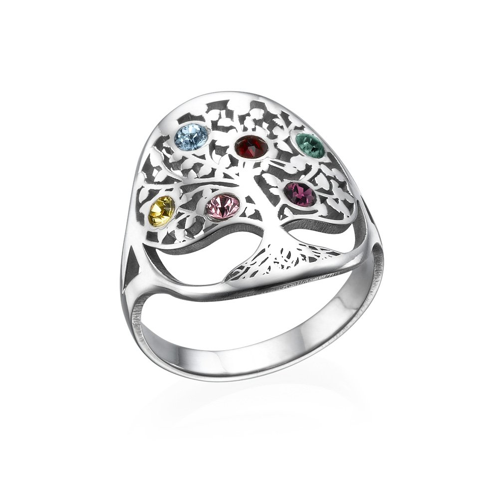 Family Tree Mothers Jewelry - Swarovski Birthstone Ring - Mothers Day Custom Made Ring Gift