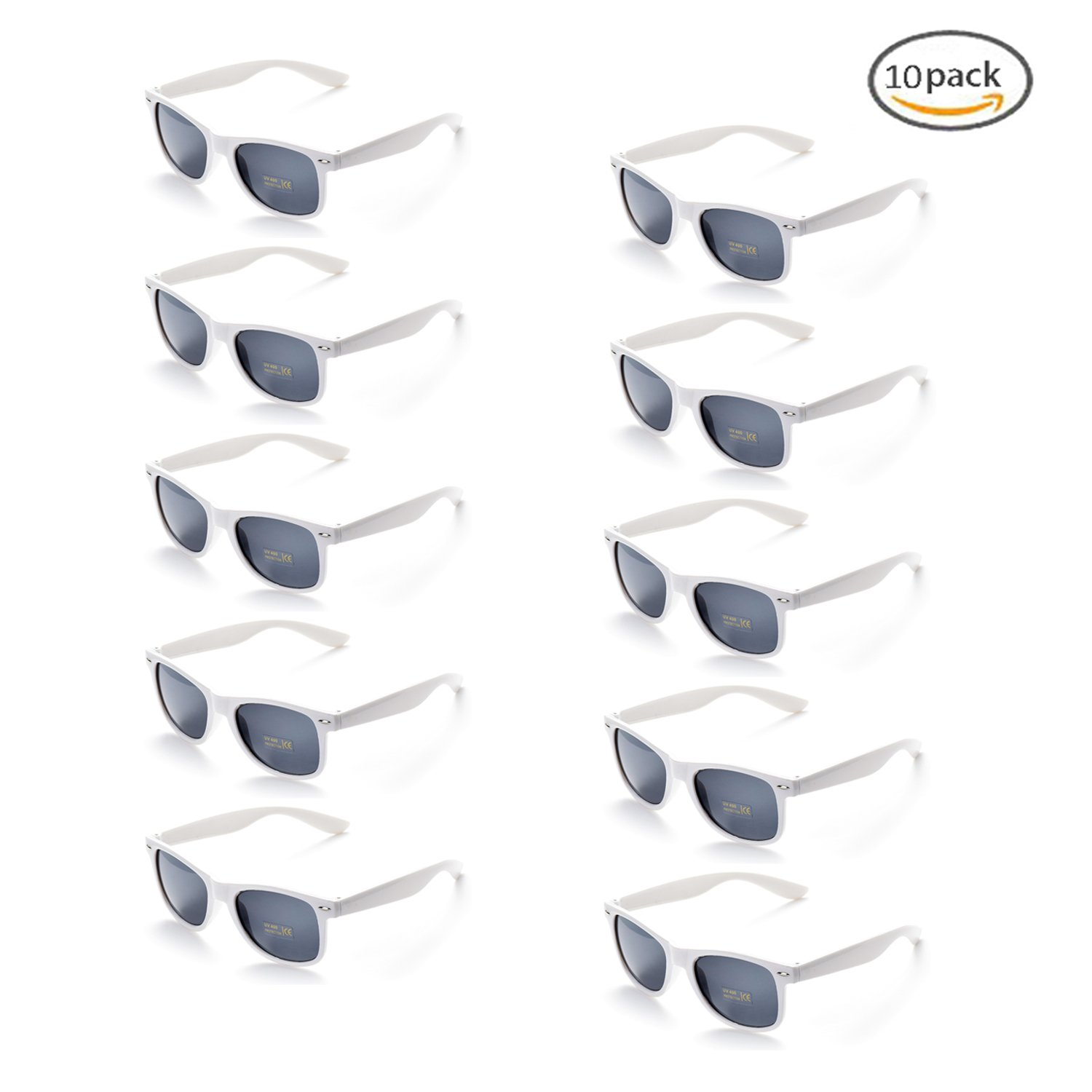 Onnea 100% UV Protection Wholesale Multi Pack Unisex 80'S Retro Style Promotional Sunglasses (White 10-Pack)
