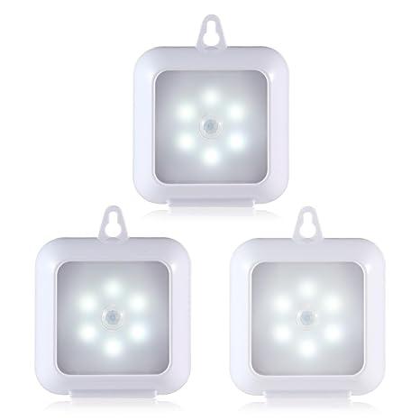 PAWACA Sensor de movimiento luz, 6 LED bombillas LED A pilas luz de noche en