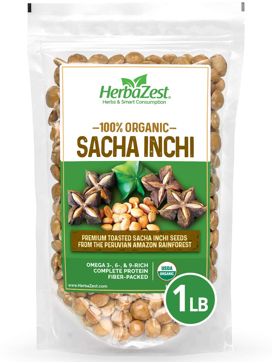 Sacha Inchi Seeds Organic - Premium Nutritious Superfood - Complete Protein, Fiber & Omega Packed – Vegan, Gluten Free & USDA Certified - 16oz (454g) - Perfect for Snacks, Baked & Non-Baked Goods