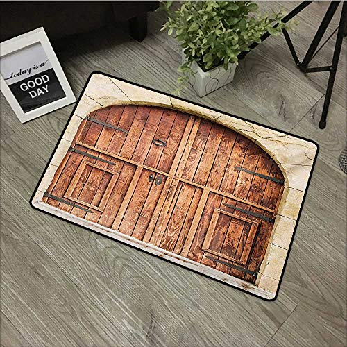 Printed door mat W19 x L31 INCH Rustic,Traditional Oak Crafted Doorway on Stone Facade Artisan Hand Made Features Culture,Cream Brown Natural dye printing to protect your baby's skin Non-slip Door Mat