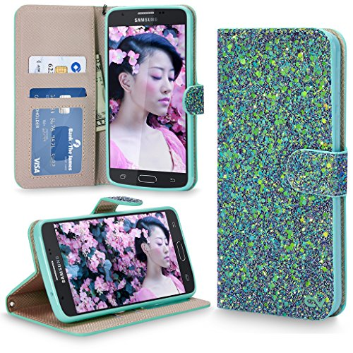 Galaxy J7 Case, Cellularvilla [Card Slot] Multi Tonal Glitter Luxury Leather Wallet Case Cover For Samsung Galaxy J7 2017 / Galaxy J7 V/ J7 Sky Pro/ Galaxy J7 Perx / - Sg Shades