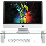 Computer Monitor Stand Riser For iMac and Accessories - Laptop Desk Organizer with Aluminium Metal Legs and Tempered Glass for Flatscreen TV, Mining Racks, Printer, Xbox One Gaming Storage - Func
