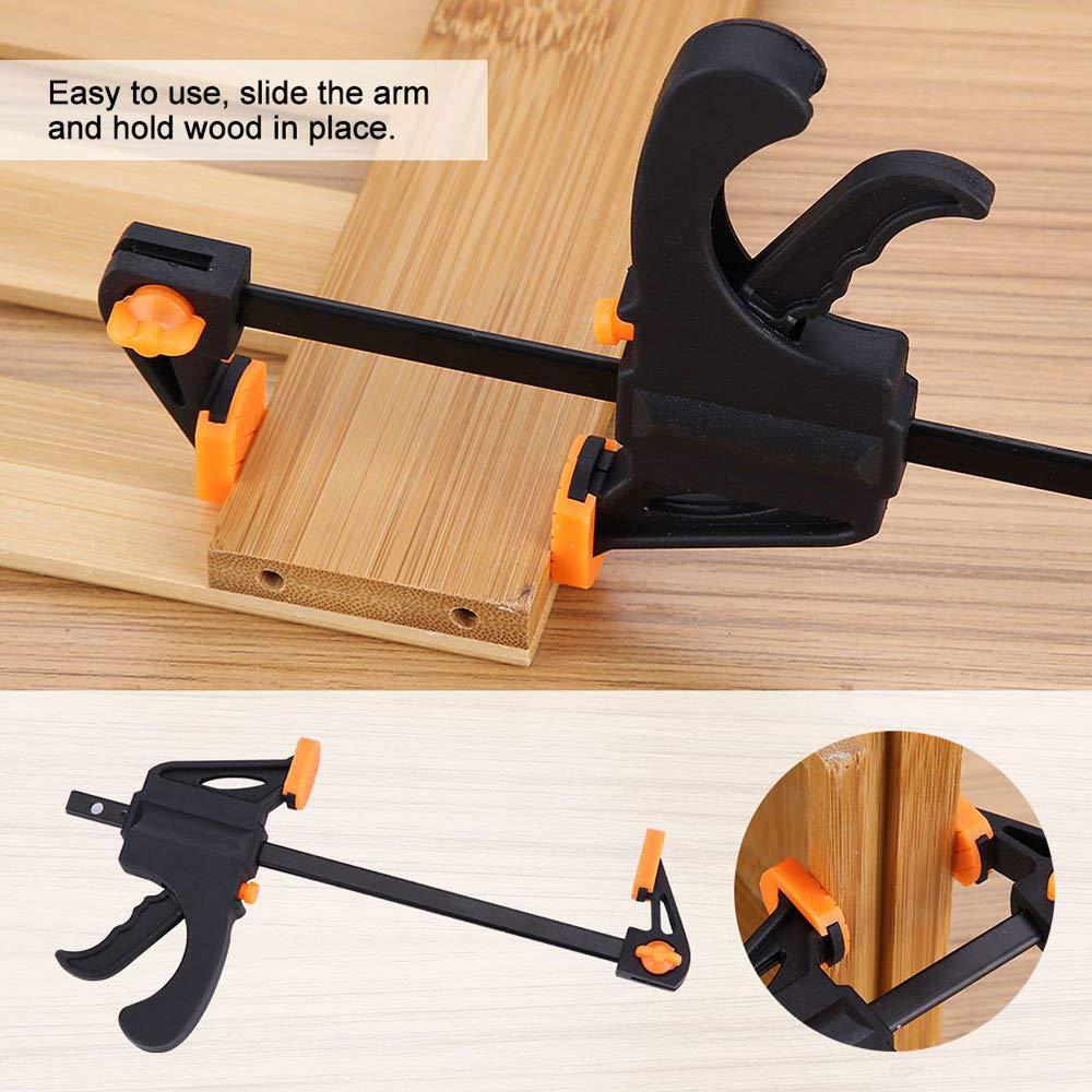 Plastic F Clamps Set 4-Piece 100mm 4 Bar F Clamps Clip Grip Quick Ratchet Release Woodworking DIY Hand Tool Kit