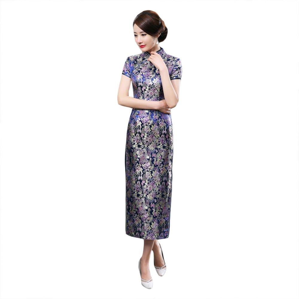 ZooBoo Chinese Cheongsam Qipao Dress - Oriental Traditional Wedding Outfit Clothing Costume for Girls Women - Brocade (XXL, Dark blue)
