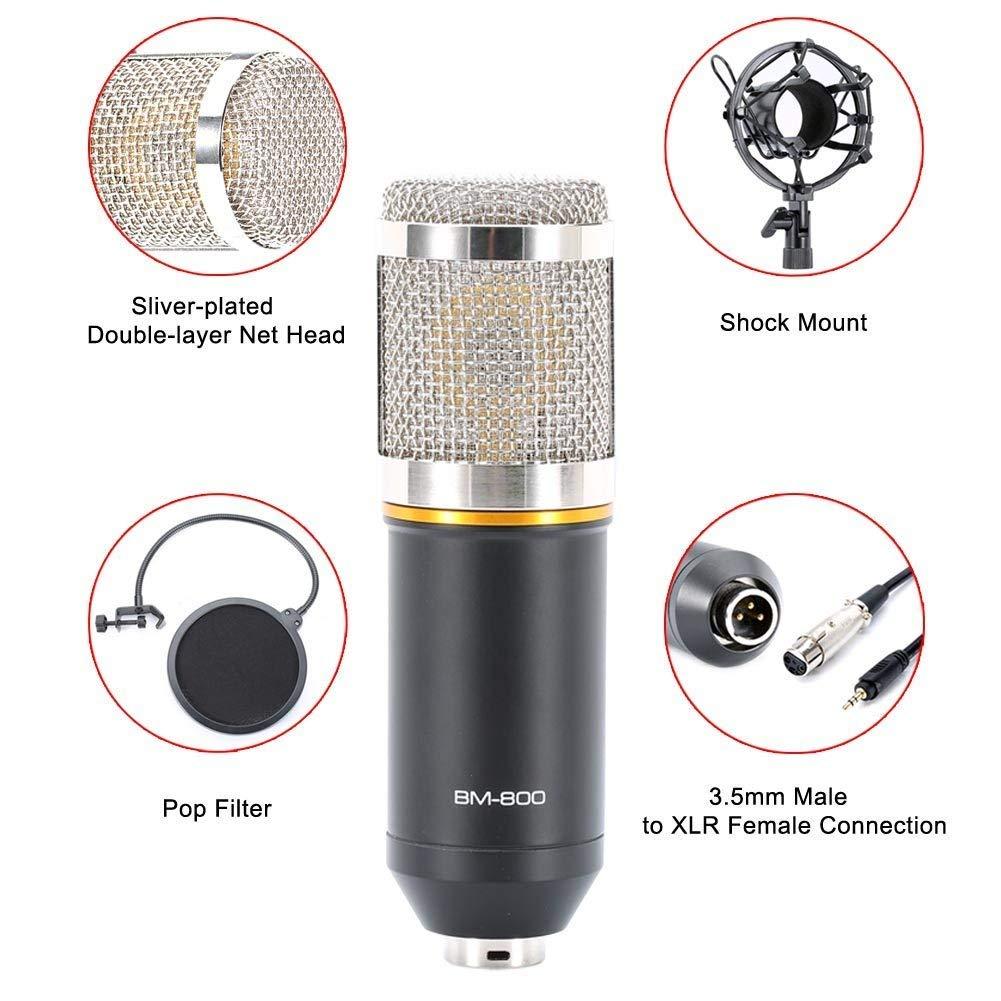 Professionelles Kondensatormikrofon Sound Studio Recording Mikrofon Broadcast Aufnahme Kondensator Mikrofon + Radaufhängung Schere Ständer + Shock Mount+ Montage Klemme Kit+ Filter Pop