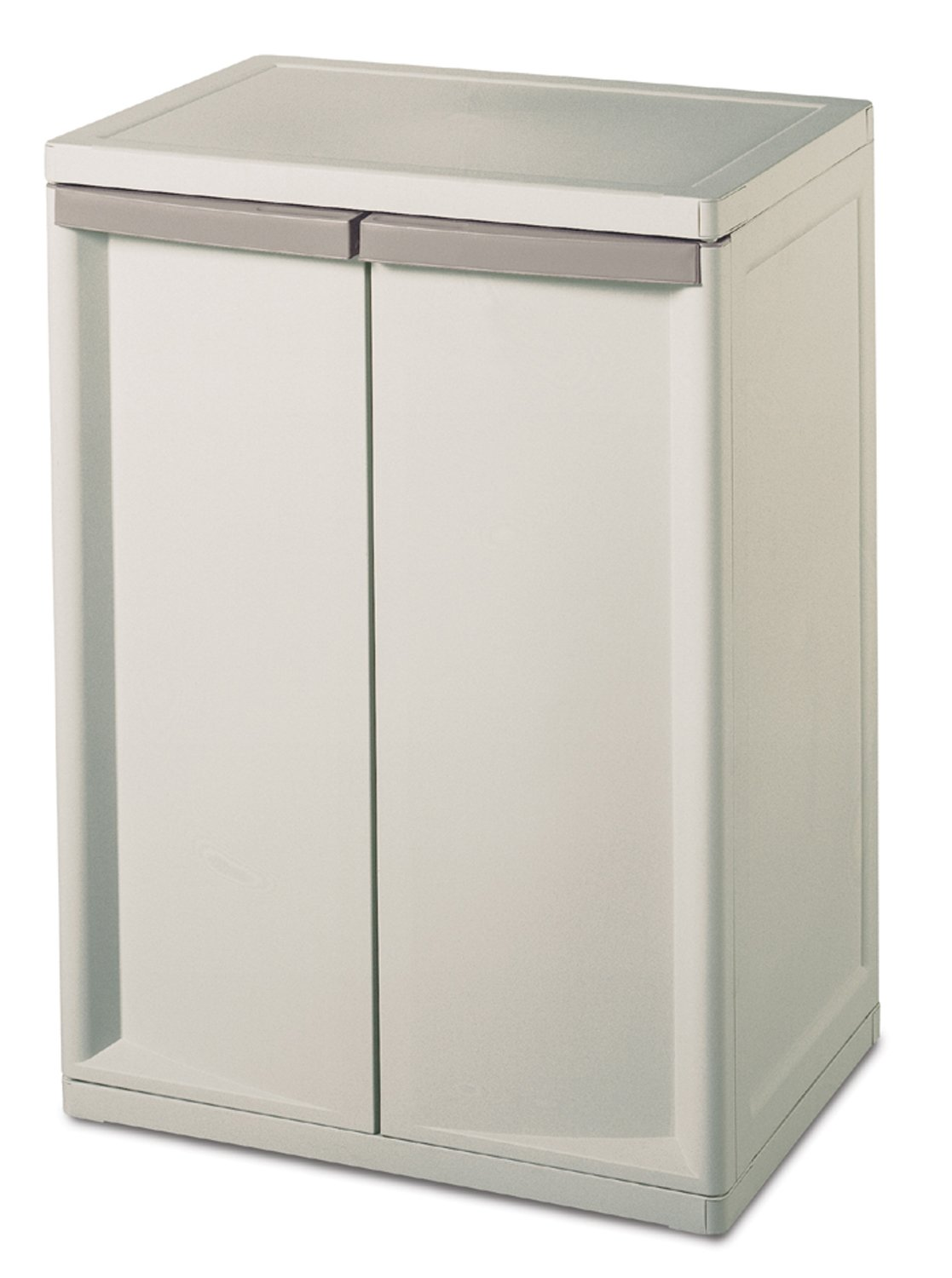 Sterilite 01408501 2-Shelf Cabinet with Putty Handles, Platinum