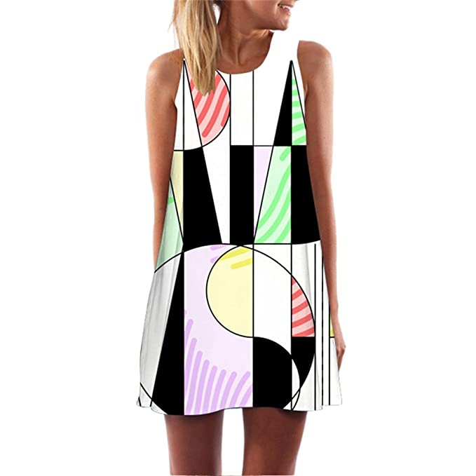 BCVHGD Women Summer Dress 3D Geometric Print Creative Mini Beach Large Size Vestidos Robe Femme S