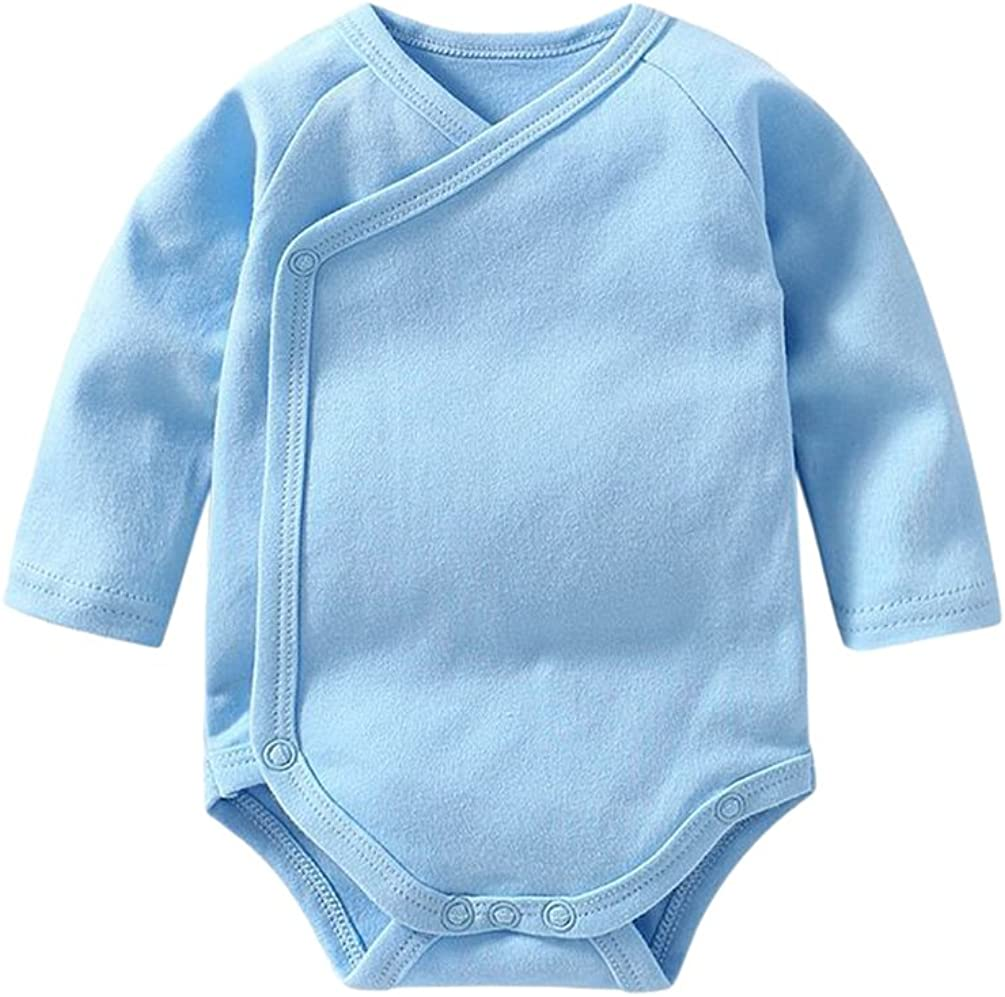 Dooxi Unisexe Fille Gar/çon Nouveau-N/é B/éb/é Bodysuit Confortable Manches Longues Couleur Unie Bodys Combinaison de V/êtements