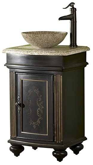 Kaco international 5300-2450-1025VesselGH Arlington 24-Inch Square Ebony  Vanity with Gold