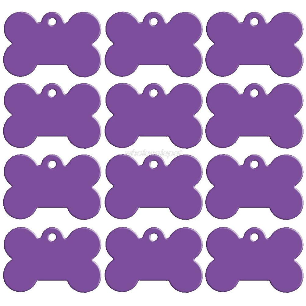 Kuntrona 100 pcs/lot Bone Shape Double Sides Personalized Dog ID Tags Customized Cat Puppy Name Phone No. (Don't offer Engrave Service) Purple 51 x 36 mm by Kuntrona