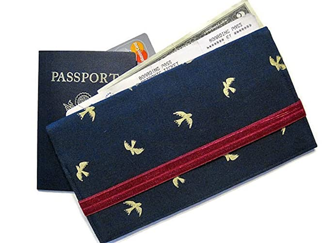 Amazon Com Passport Holder And Boarding Pass Wallet With Gold Birds