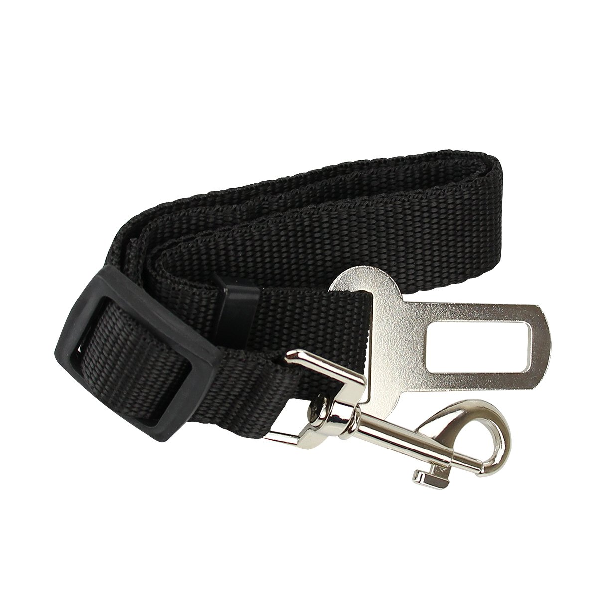 DierCosy Black Pet Dog Car Seat Belts Safety Harness Adjustable Buckle Travel Auto Vehicle Stabilizer Protector Guard Nylon Fabric with Metal Clips