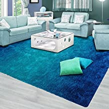 Bedroom Solid Color Living Room Coffee Table Sofa Large Carpet ( Color : Blue , Size : 80*150CM )