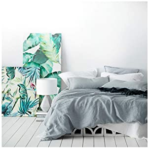 Eikei Washed Cotton Chambray Duvet Cover Solid Color Casual Modern Style Bedding Set Relaxed Soft Feel Natural Wrinkled Look (Queen, Cloudy Sky)