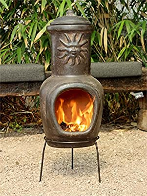 Clay Barbecue and Fireplace, 13x32.3inc, Brown with Sun Motif, Ground BBQ, Outdoor Safetly Cooking, Natural, Decorative, Portable, Pottery Barbecue, Gift