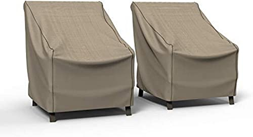 Budge P1W02PMNW2-2PK NeverWet Mojave Patio Chair Cover 2 Pack Waterproof, UV-Resistant, Durable, Large 2-Pack , Black Ivory