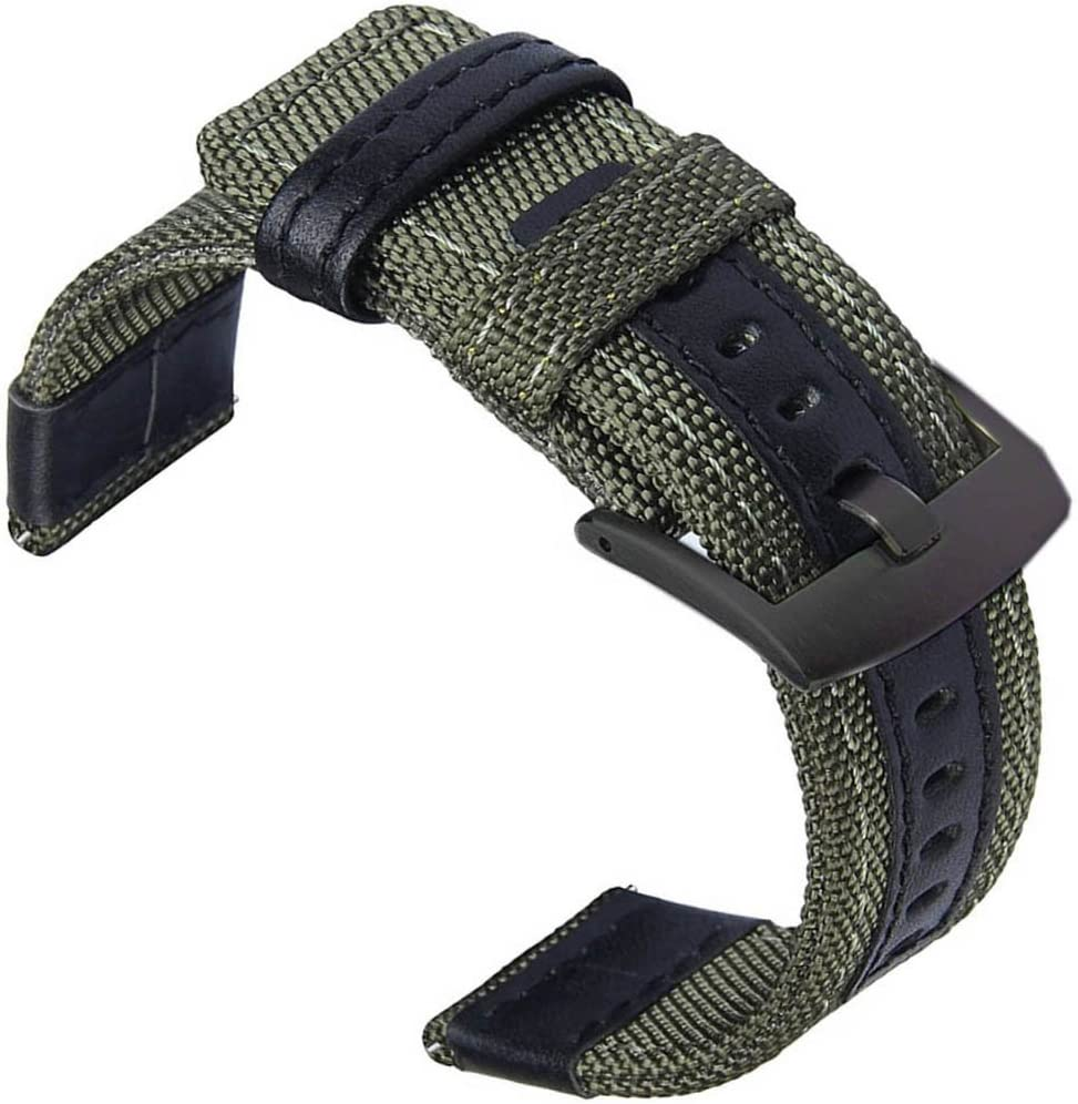 24mm Watch Bands, OTOPO 24mm Quick Release Band Large Premium Nylon Woven with Leather Replacement Wrist Band for Suunto Traverse and Any Watches with 24mm Lug Smartwatch (24mm, Army Green)