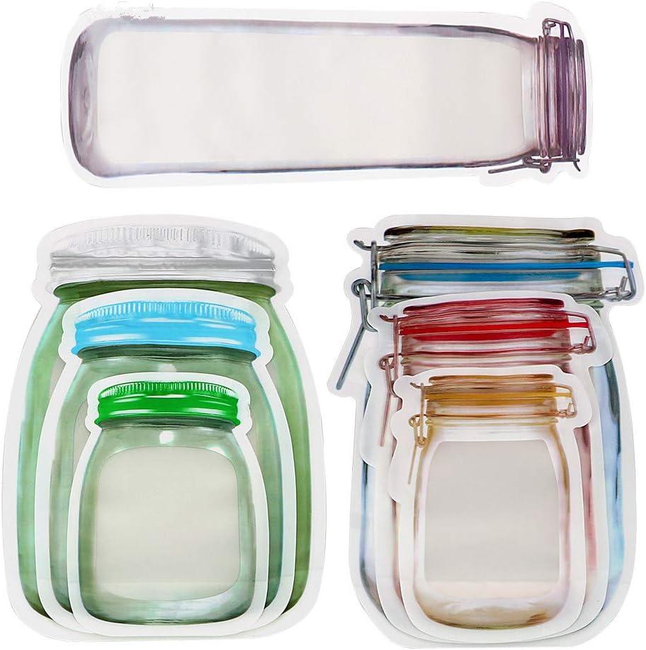 Mason Jar Bottles Bags, Reusable Food Saver Storage Bags Snacks Zipper Sealed Bags Fresh Bags (22PCS)