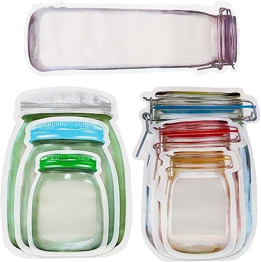 Household Portable Sealing Mason Bottle Ziplock Storage Bag Reusable Snack Bag