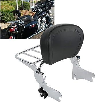 Detachable Passenger Backrest Pad Sissy Bar Chrome Harley Davidson Touring 09-19