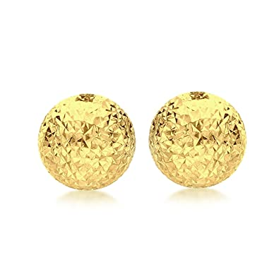 7fa97292e Carissima Gold Women's 9 ct Yellow Gold 8 mm Diamond Cut Half Ball Stud  Earrings