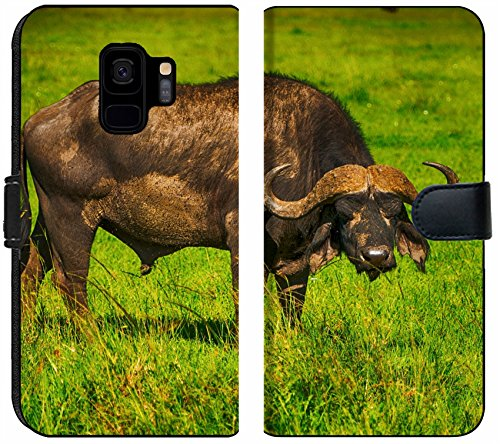 Samsung Galaxy S9 Flip Fabric Wallet Case Male Cape Buffalos Standing in Short Grass Image 34700099 Customized Tablemats Stain Re ()