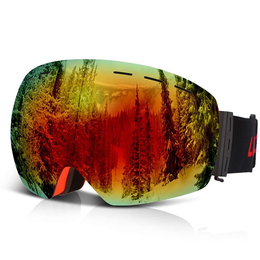 Lixada Occhiali da Sci per Snowboard OTG Anti-Fog UV Protection Occhiali da Neve Sferici Dual Lens Design Strap Staccabile Elmetto Compatibile per Uomo Donna Giovent/ù