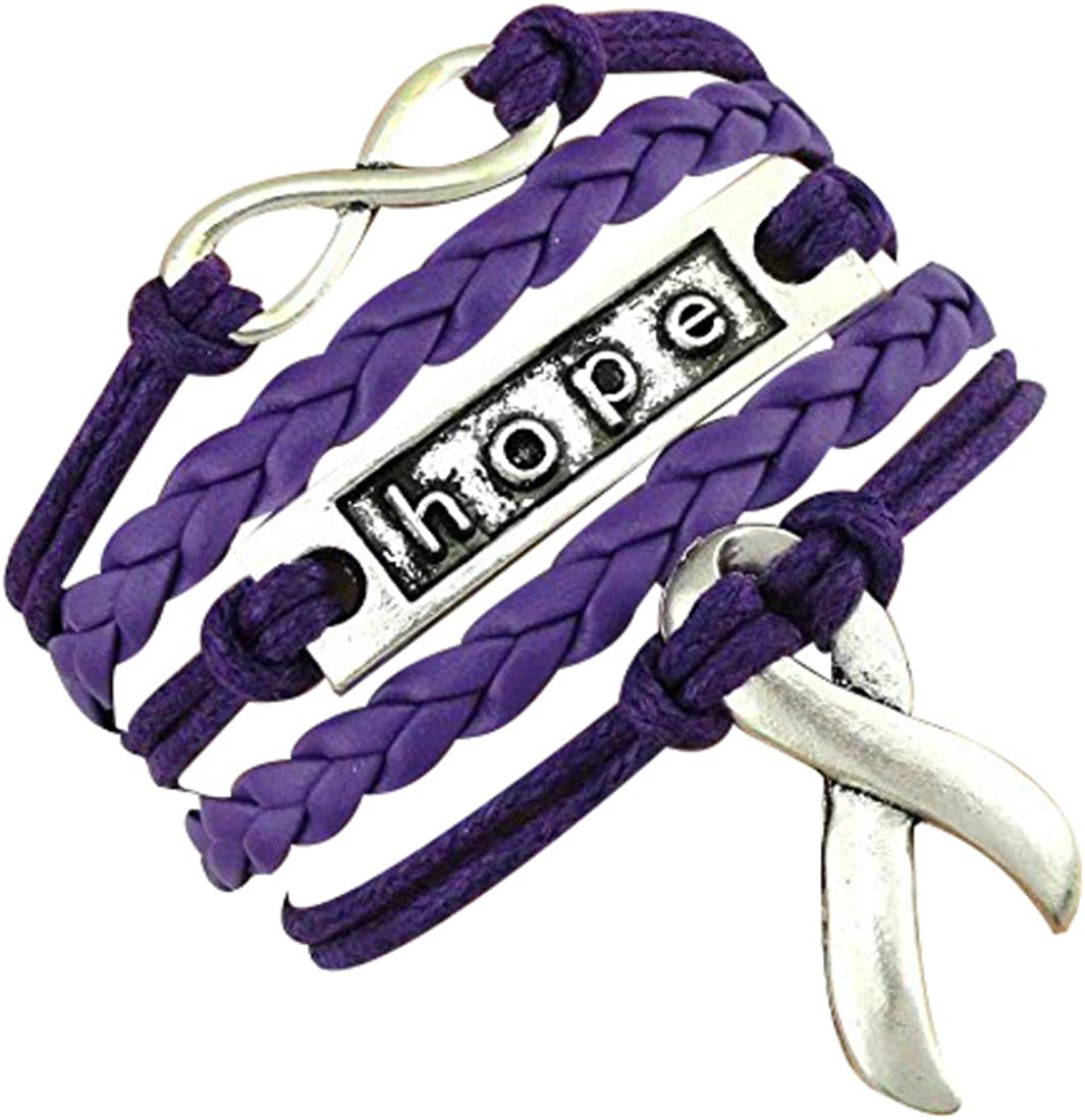 Fundraising For A Cause Purple Ribbon Believe Charm on Black Cord Bracelet Retail