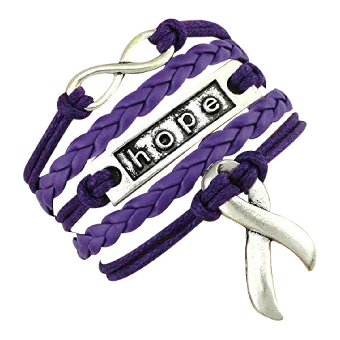 075ca406b68 Infinity Collection Cancer Awareness Purple Ribbon Bracelet, Pancreatic  Cancer Bracelet, Awareness Bracelet, Makes The