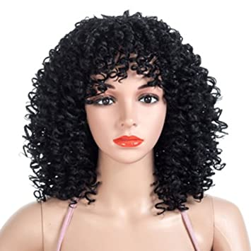 wigs Pequeño y Rizado Pelo Corto Femenino Pelucas Moda Esponjoso Negro rizos Negros Fiesta de Vacaciones