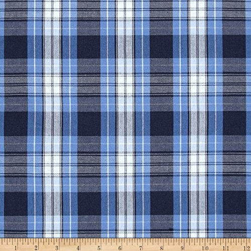 Carr Textile Poly/Cotton Uniform Plaid Blue/Navy/White Poplin Fabric By The Yard