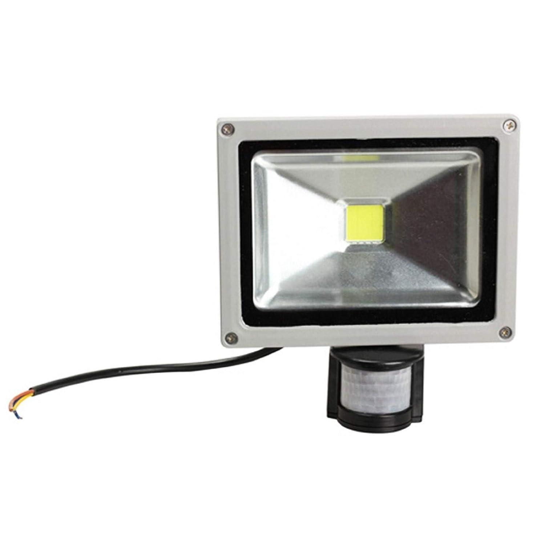 Foco de LED, 20 W, luz blanca fría, con sensor de movimiento crepuscular IP65: Amazon.es: Iluminación