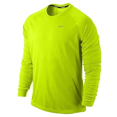 9cdb4fdd NIKE Miler Long Sleeve Running T-Shirt Tee - Volt: Amazon.co.uk: Clothing
